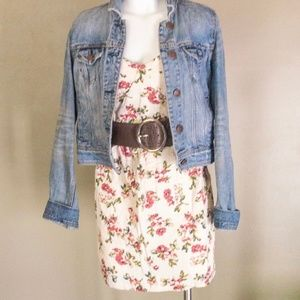 Strapless Cream and Floral Dress
